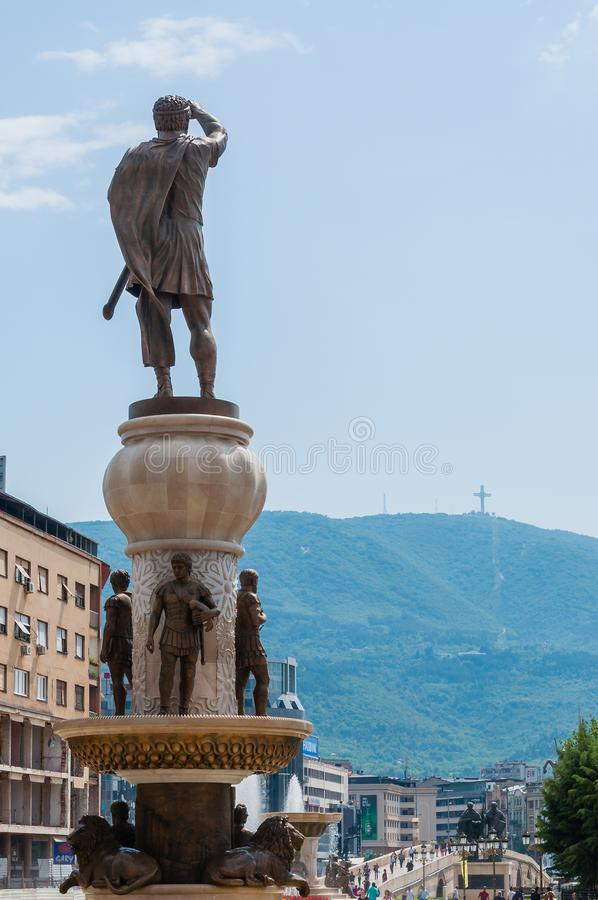 A giant 29-meter tall bronze statue of the ancient warrior king, Philip Second of Macedon, father of Alexander the Great standing stock photo