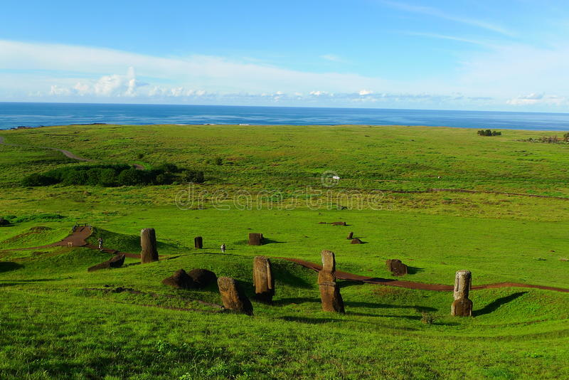 Giant Moai of Easter Island. Chile stock photos