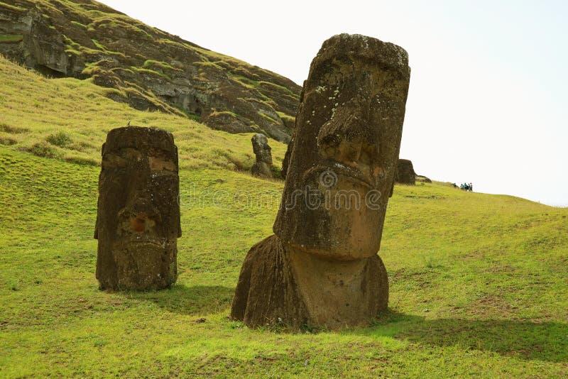 The giant Moai statues on Rano Raraku volcano, UNESCO world heritage Archaeological site on Easter Island, Chile. South America stock image