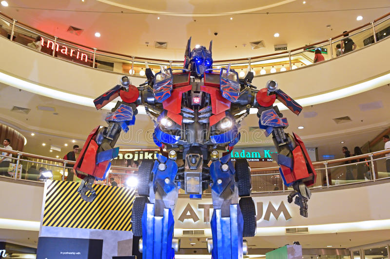 Giant model of Optimus Prime from Transformers stock photo