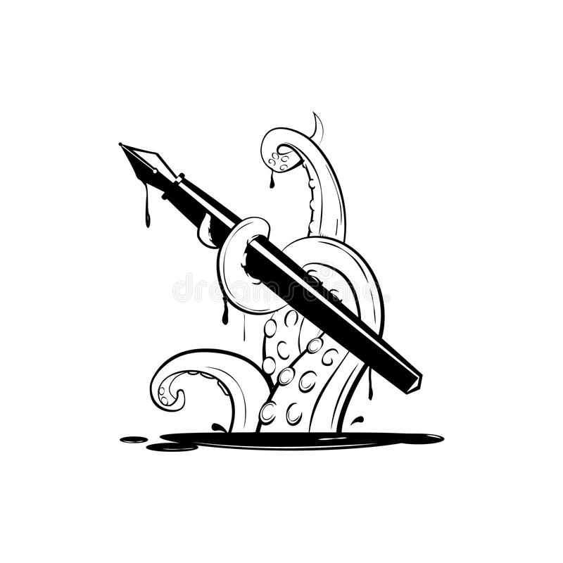 Giant octopus with ink pen, silhouette simple royalty free stock image