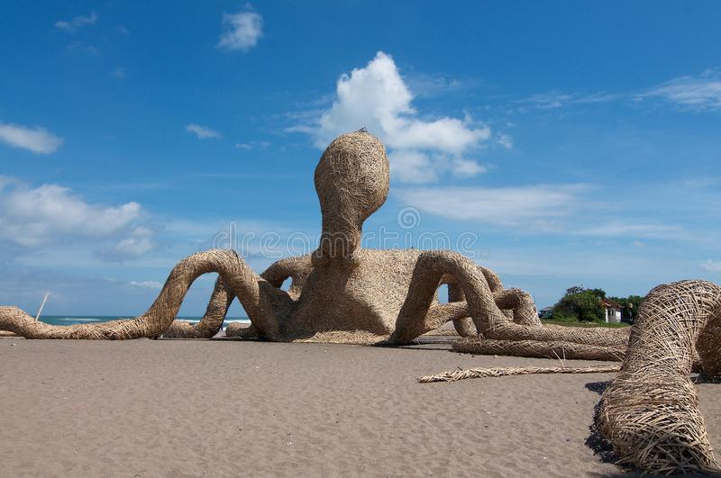 Giant Octopus installation made from bamboo royalty free stock images