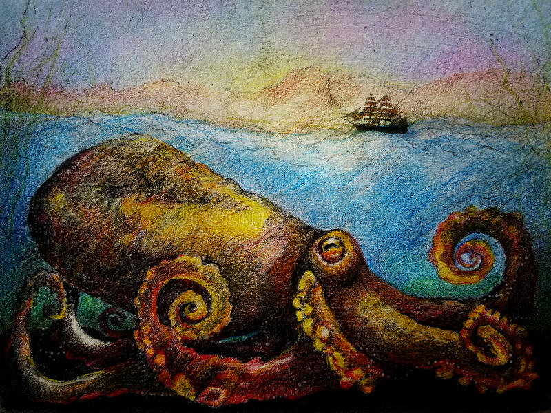 Giant octopus sea monster. A giant mythical sea monster in the deep ocean as a boat sails across the surface of the water royalty free illustration