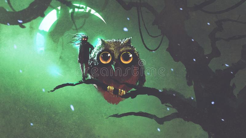 Giant owl and its owner standing on a branch in night forest stock illustration