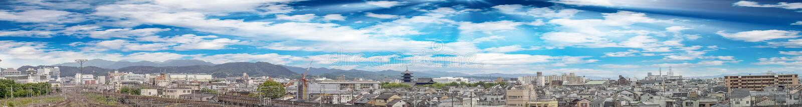Giant panoramic view of Kyoto skyline, Japan stock images