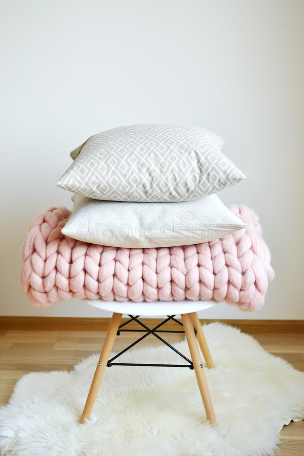 Download Giant Pink Plaid Blanket Woolen Knitted With Cushion On The Chair  Stock Photo   Image