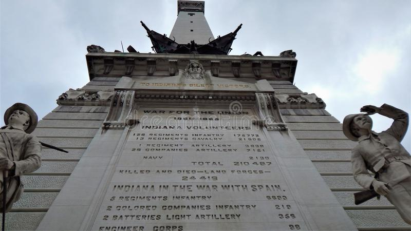 Bears on the Cadelabra before the Monument. A giant Plaque honors the sacrifices of the Revolutionary War, the War of 1812, the Mexican War, the Civil War, the stock photography