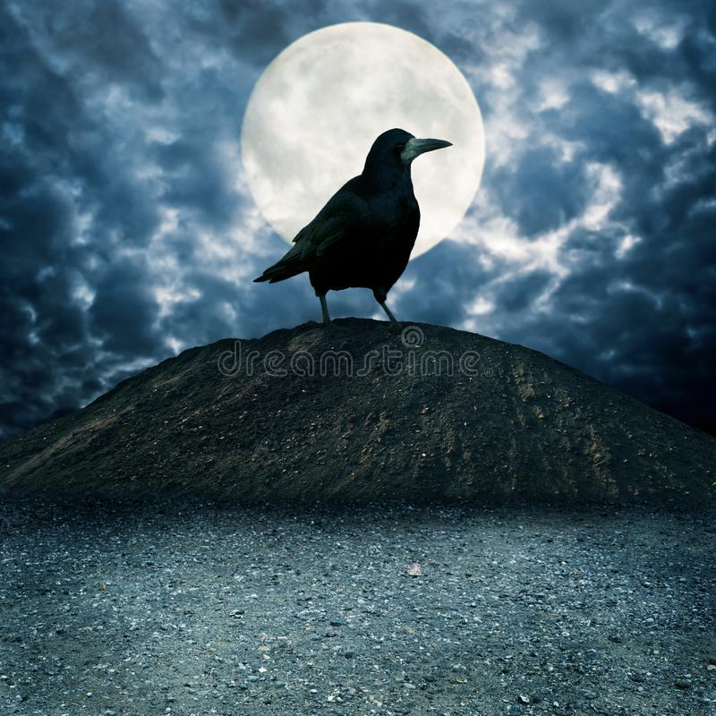 Download Giant raven on the hill stock image. Image of hill, surrealism - 115292809