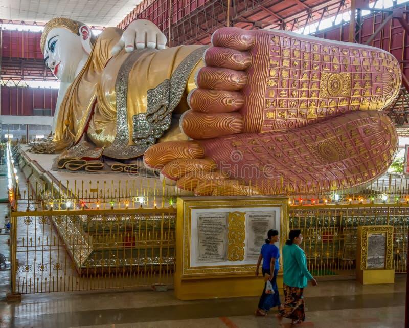 Giant reclining Buddha in Yangon stock photography