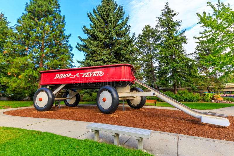 Giant Red Wagon stock photos