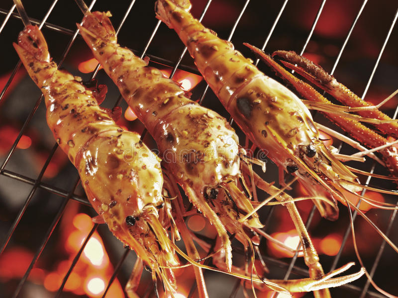Giant river prawn (Malaysian Shrimp) grilled royalty free stock image