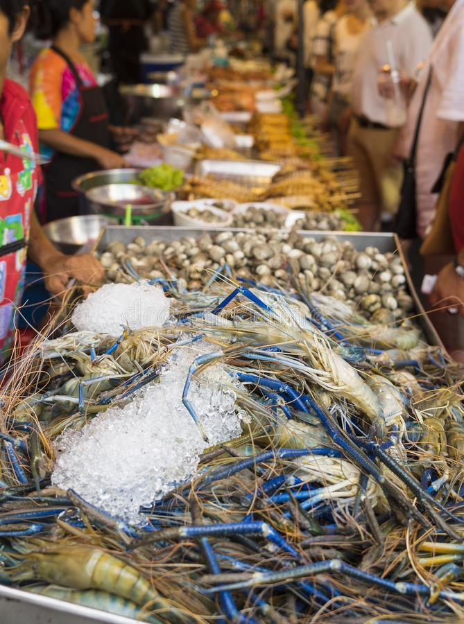 Giant river shrimp for sale in Asian market stock photography