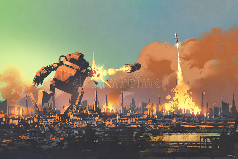 The giant robot launching rocket punch destroy the city royalty free illustration