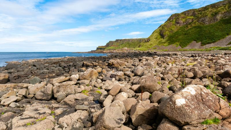 Giant`s Causeway - Bushmills - Northern Ireland. Giant`s Causeway is located in Bushmills Northern Ireland. Made up of octagonal shaped pillars, and is one of stock images
