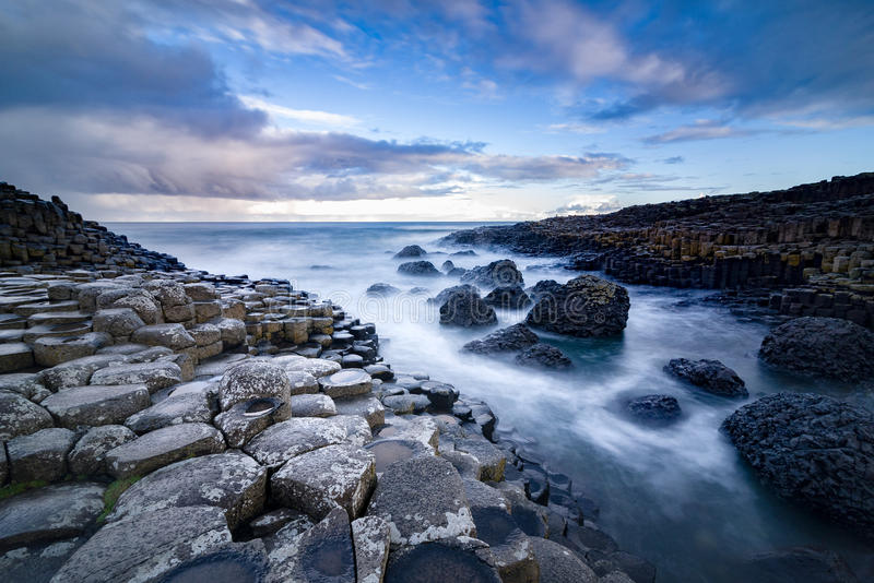 The Giant`s Causeway in the morning. stock images