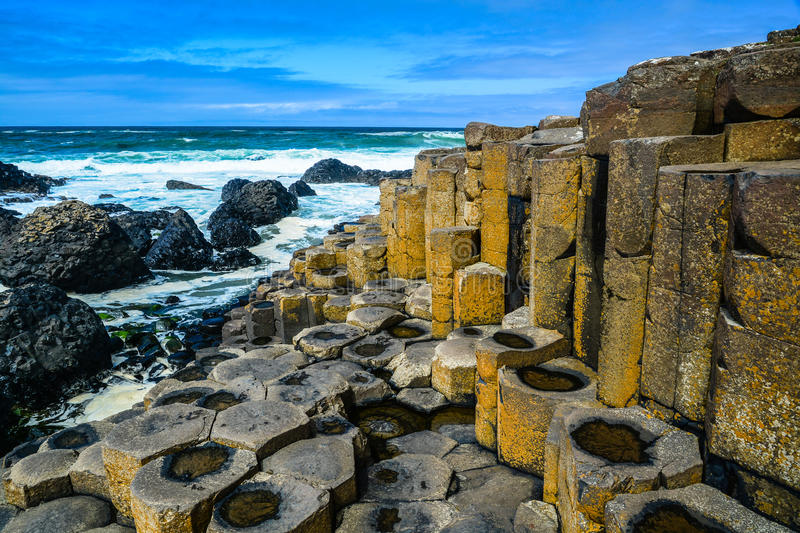 Giant's Causeway in Northern Ireland. Photo of the geological columns at Giant's Causeway on the coast of Northern Ireland royalty free stock photo