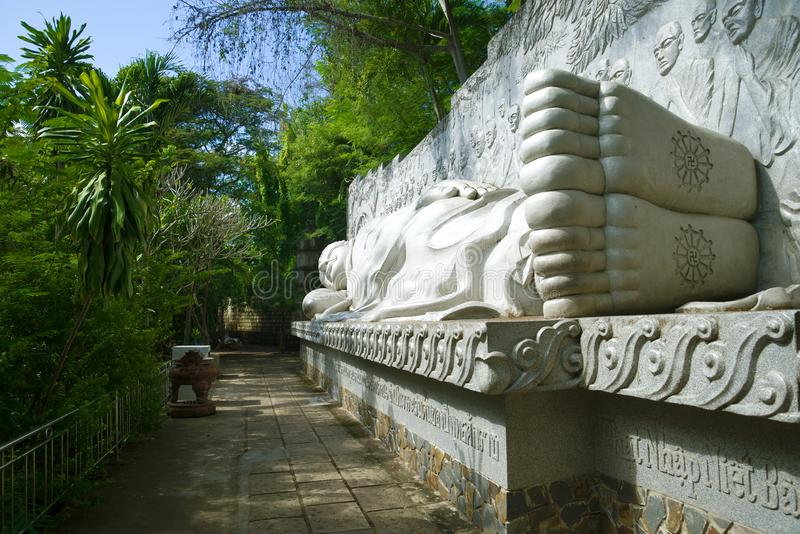 Giant sculpture of a reclining Buddha in the Long Son pagoda. Nha Trang, Vietnam stock photos