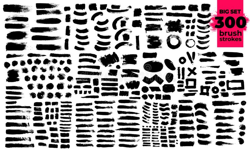 Giant set of black brush strokes. Paint, ink, brushes, lines, grunge. Strokes text. Dirty artistic design elements, boxes, frames. Freehand drawing. Vector stock illustration
