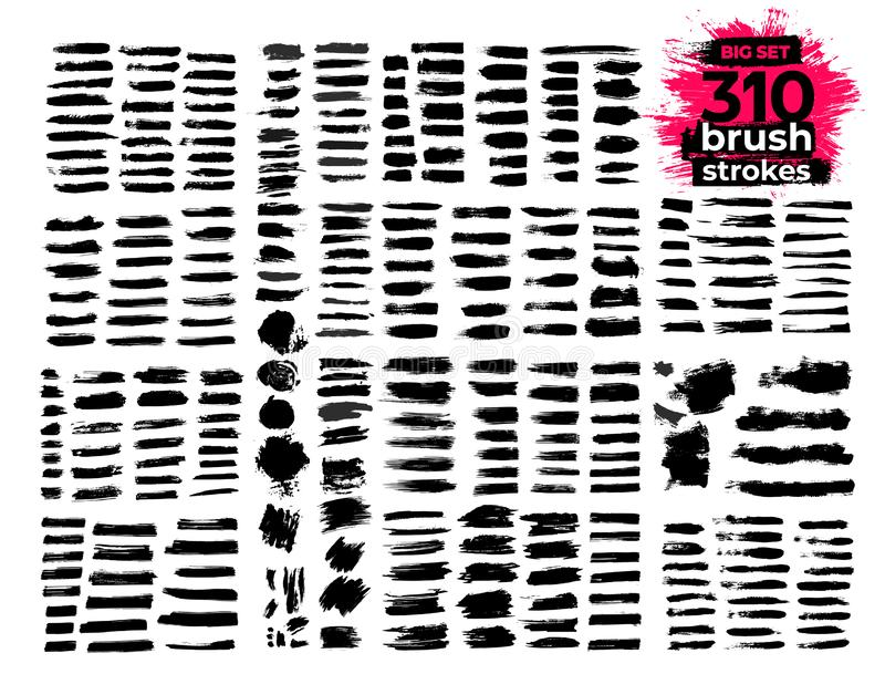Giant set of black brush strokes. Paint, ink, brushes, lines, grunge. Strokes text. Dirty artistic design elements, boxes, frames. Freehand drawing. Vector stock image