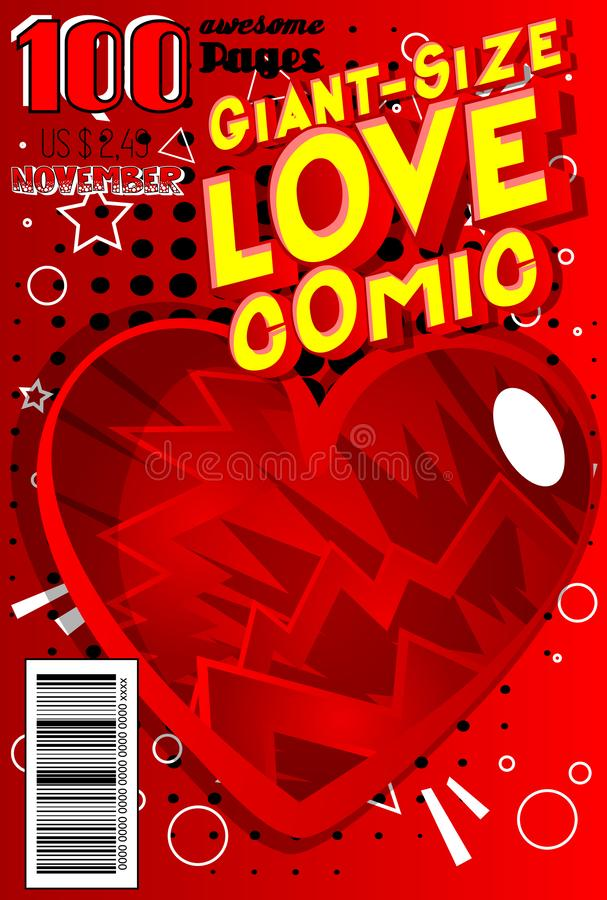 Giant-Size Love Comic Book cover. Editable Giant-Size Love Comic Book cover with hearts and other effects stock illustration