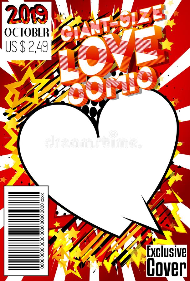 Giant-Size Love Comic Book cover. Editable Giant-Size Love Comic Book cover with hearts and other effects royalty free illustration