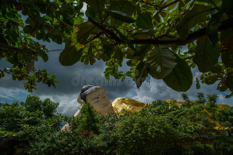 Giant sleeping Buddha, Bago, myanmar. Giant sleeping Buddha Bago, myanmar royalty free stock images