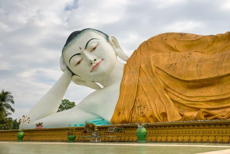 Giant sleeping Buddha, Bago, myanmar. stock photography