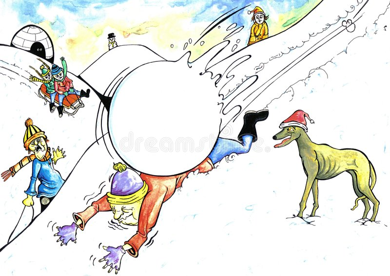Download Giant Snowball stock illustration. Image of activities, hurt - 87160