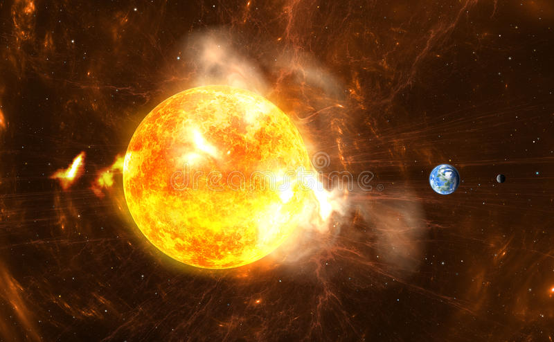 Giant Solar Flares. Sun producing super-storms and massive radiation bursts royalty free illustration