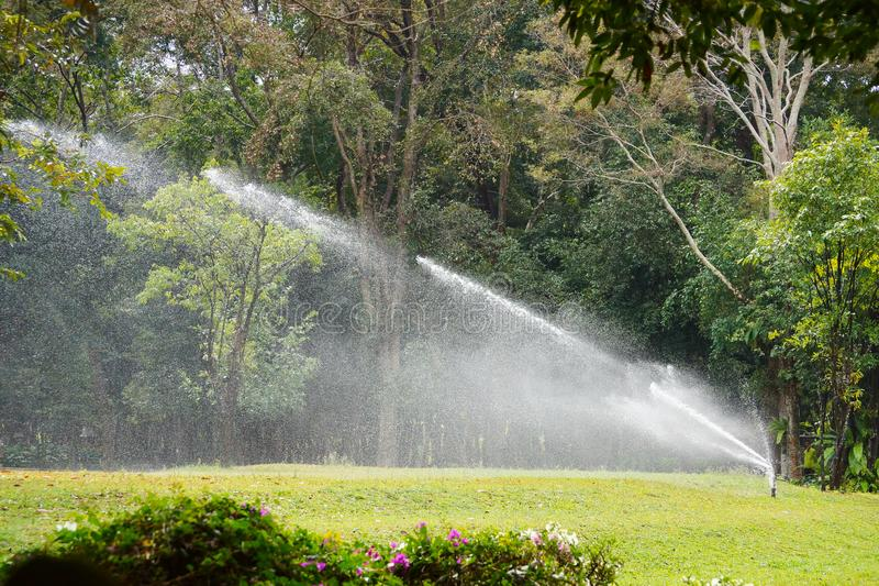 Giant sprinkle. Watering grass field and trees in the garden royalty free stock image