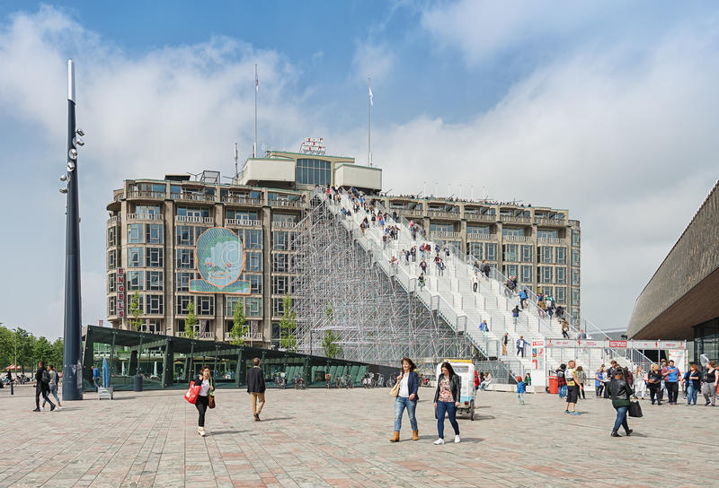 Giant staircase with 180 steps from the station square in Rotter stock photo