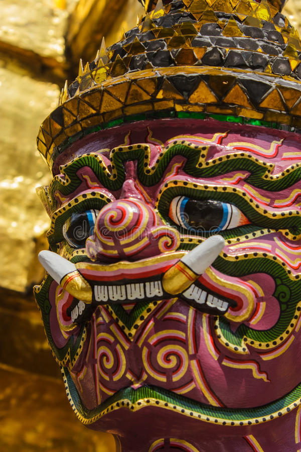 Free Giant Stand Around Pagoda Of Thailand At Wat Prakeaw Stock Photo - 52124710