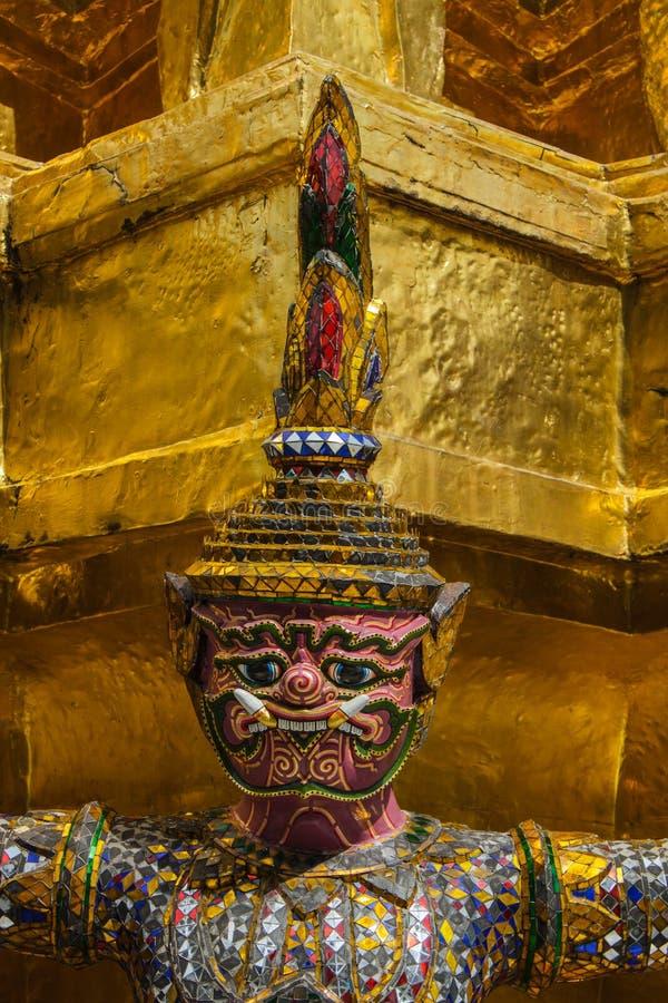 Giant stand around pagoda of thailand at wat prakaew stock image