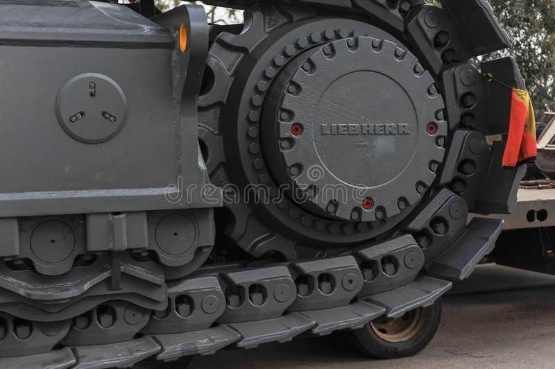Giant Steel Tracks, dwarf oversize Truck Tires, at a Stop-over in Western Australia. stock photo