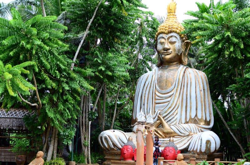 Giant stone buddha decorates an Asian aquatic jungle theme park stock photo