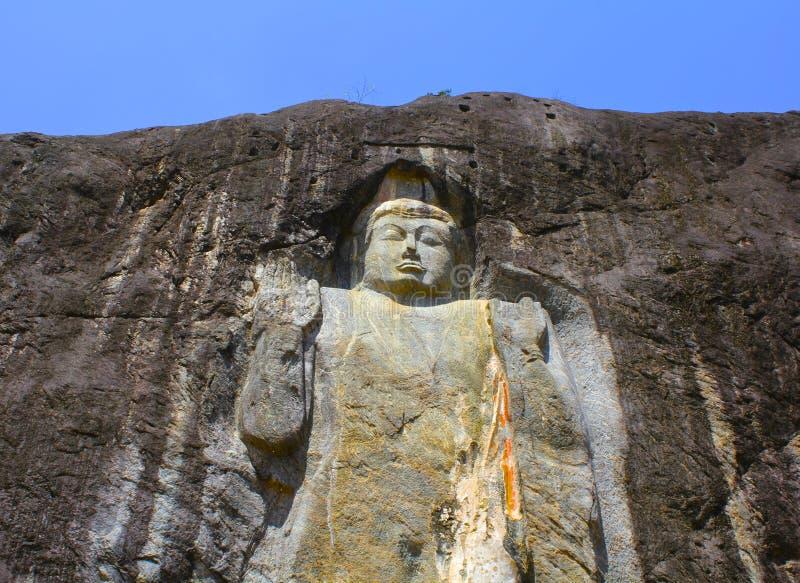 Giant stone carved buddha detail sri lanka stock photo
