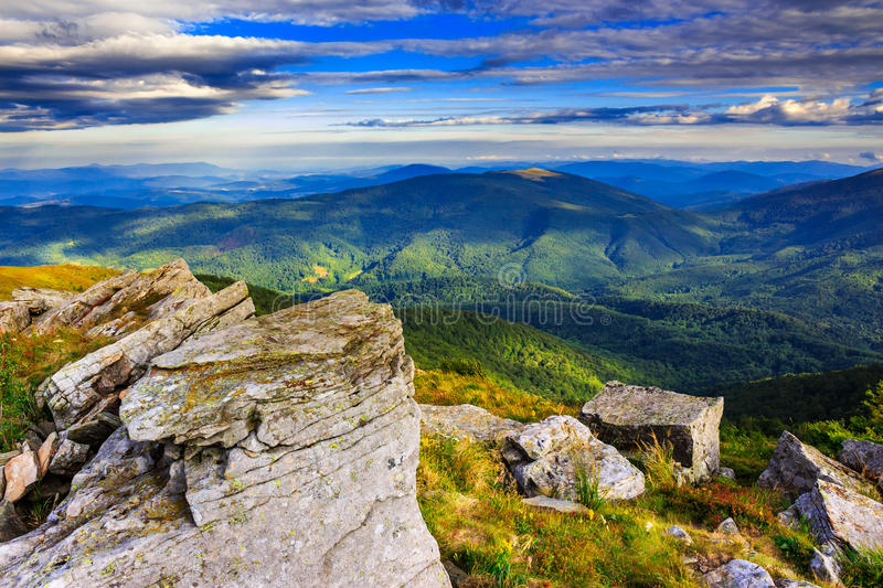 Giant stones on the top of mountain meadowslandscape stock image
