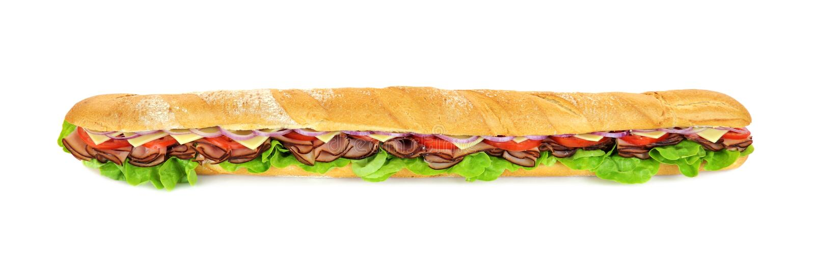 Giant Sub. Giant ham, tomato, lettuce, cheese and onion sub ready to serve royalty free stock photo