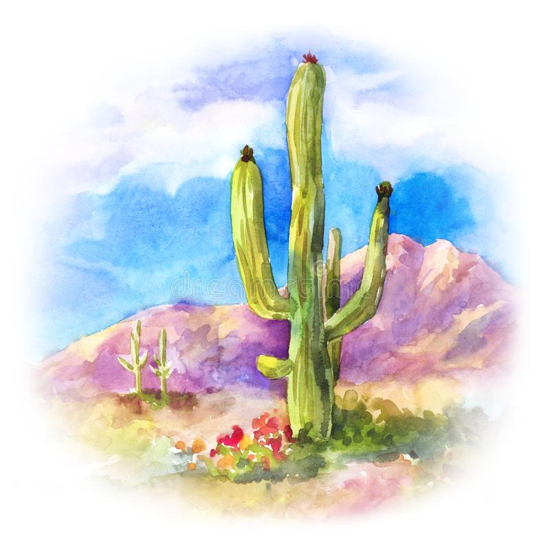 Giant succulent Carnegiea in the desert landscape. Round watercolor illustration stock illustration