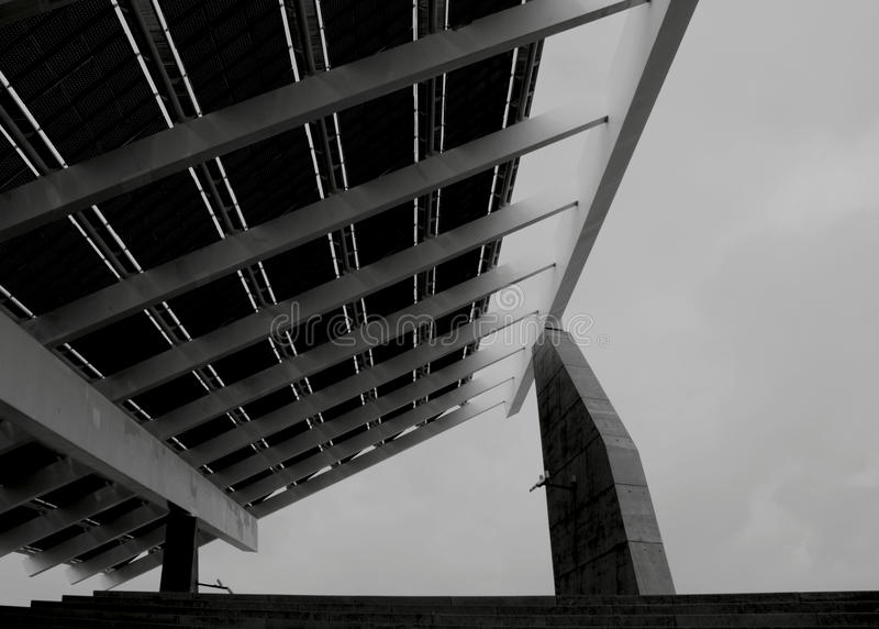 The giant sun panel. Shot in black and white, a view of this modern sun panel, placed in Forum Diagonal , set in Barcelona, Catalonia, Catalunya, España royalty free stock photos