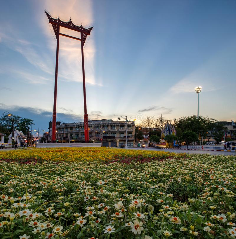 The Giant Swing  is a religious structure in Bangkok. The Giant Swing is a religious structure stock photo