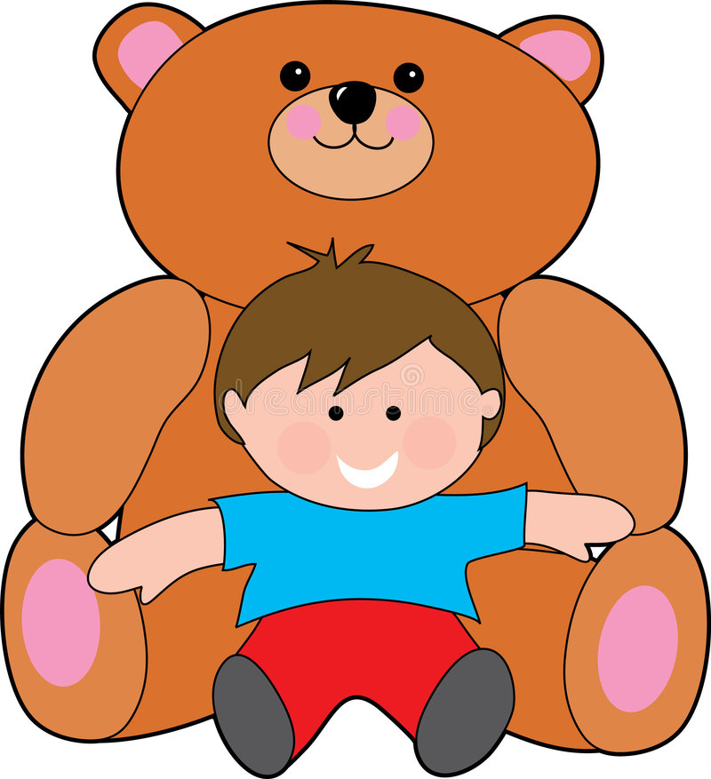 Giant teddy. Bear with a small boy vector illustration
