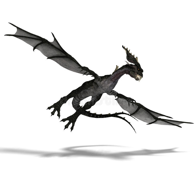 Download Giant Terrifying Dragon With Wings And Horns Stock Illustration - Illustration of beast, assault: 11269085
