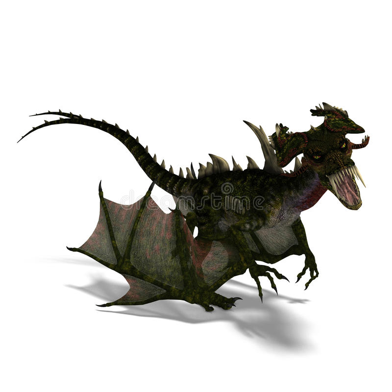 Download Giant Terrifying Dragon With Wings And Horns Stock Illustration - Image: 11286511