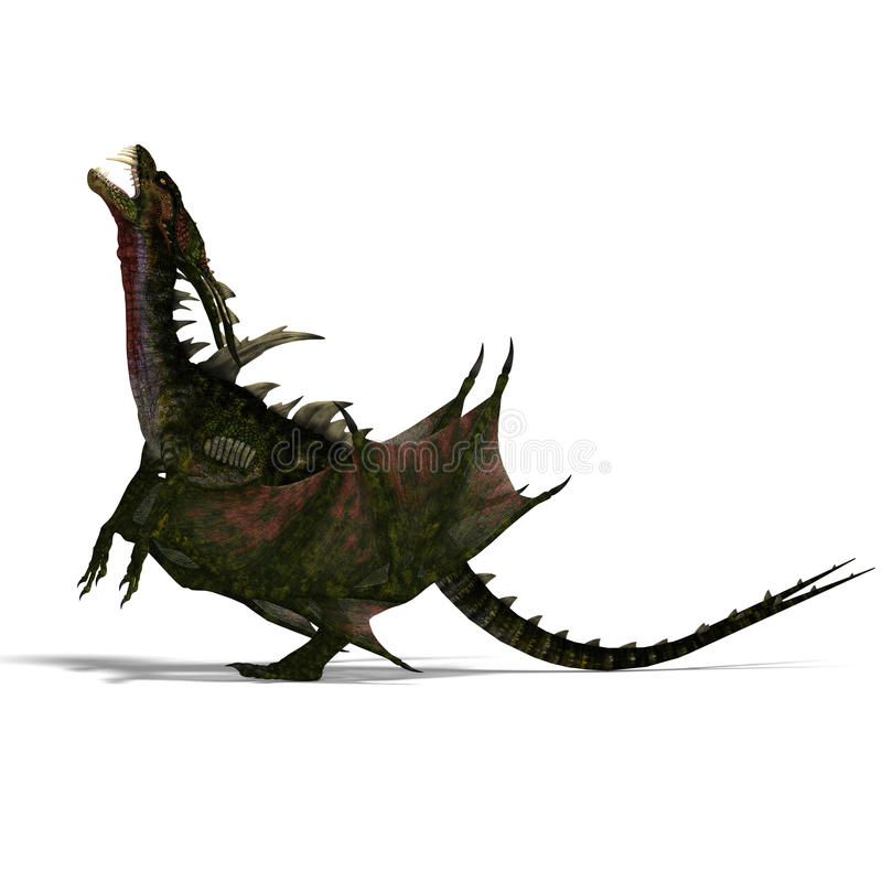 Download Giant Terrifying Dragon With Wings And Horns Stock Illustration - Illustration: 11286524