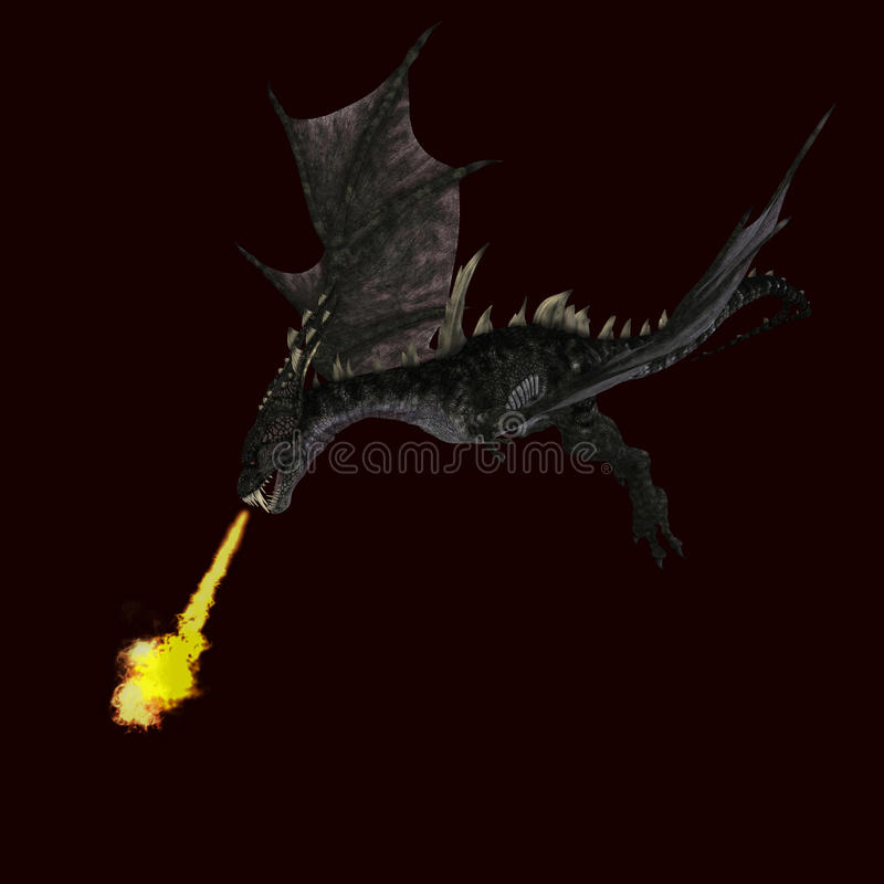Download Giant Terrifying Dragon With Wings And Horns Stock Illustration - Illustration of assail, animal: 11457058