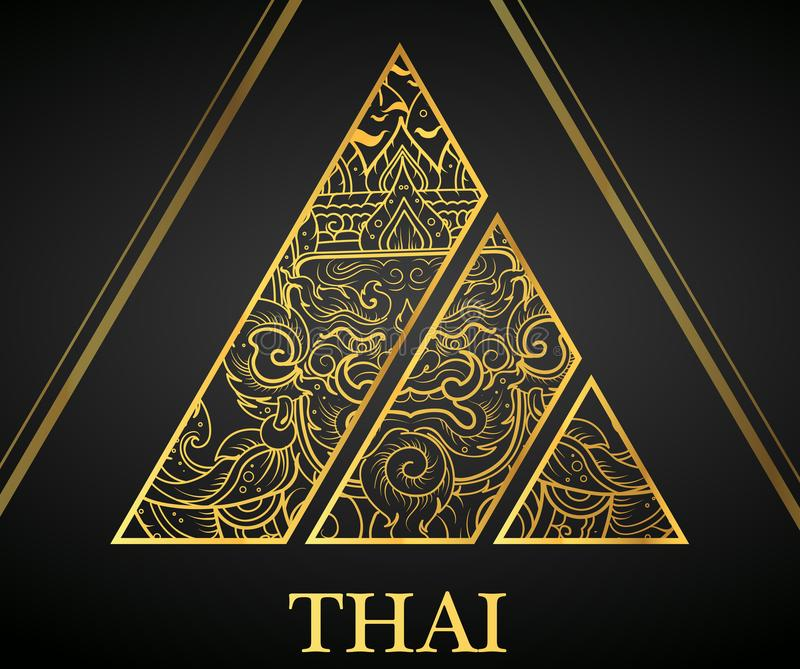 Giant Thai art element Traditional design gold for greeting cards,cover royalty free illustration