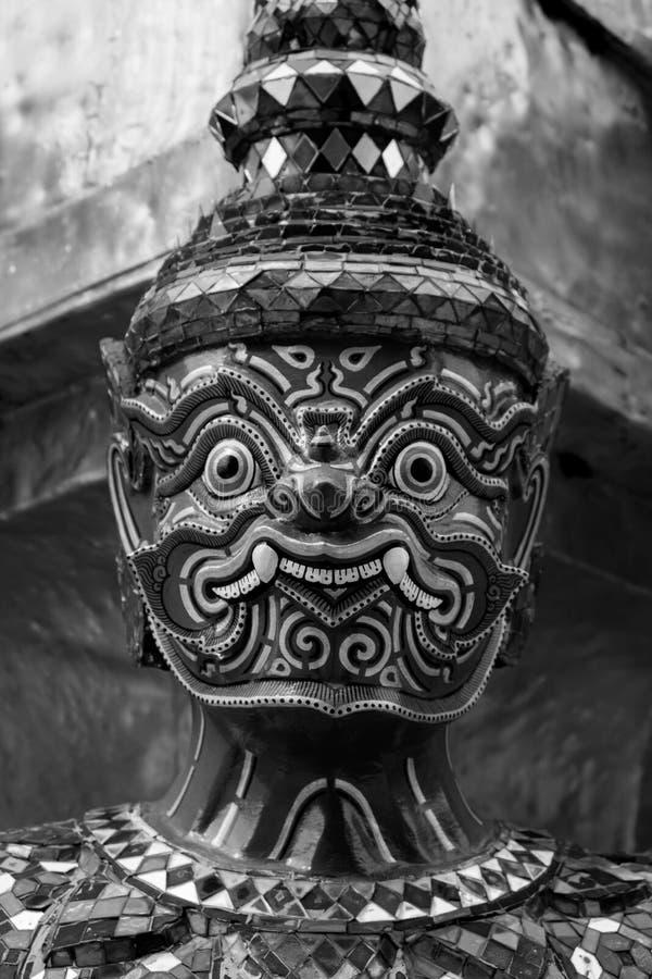 Giant of Wat Phra Kaew or Grand Palace, Bangkok, Thailand. Giant of Thailand stand in the Grand Palace, Black and White royalty free stock photography