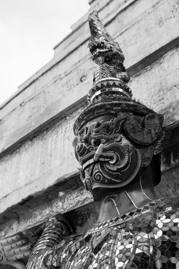 Giant of Wat Phra Kaew or Grand Palace, Bangkok, Thailand. Giant of Thailand stand in the Grand Palace Black and White stock photos