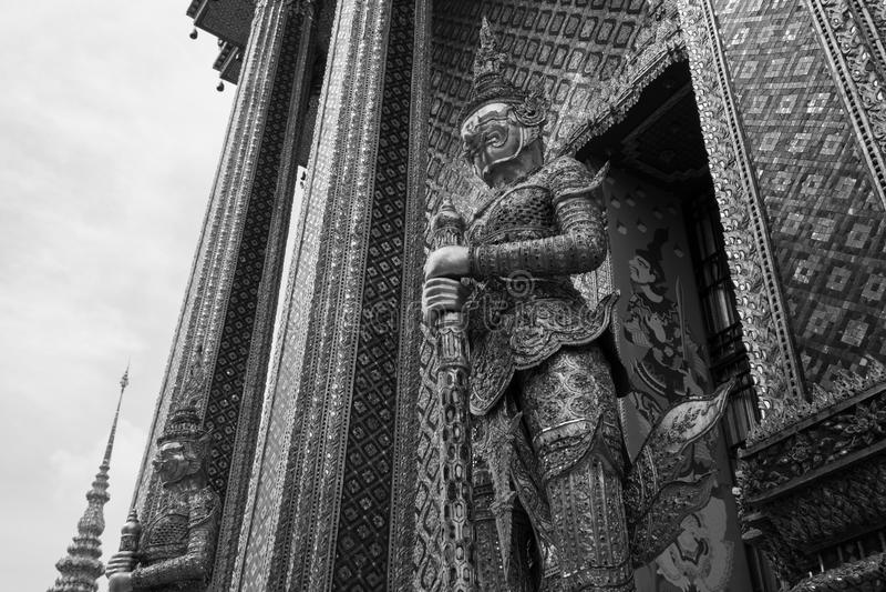 Giant of Wat Phra Kaew or Grand Palace, Bangkok, Thailand. Giant of Thailand stand in the Grand Palace, Black and White royalty free stock photos